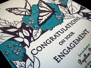 Closeup of engagement card